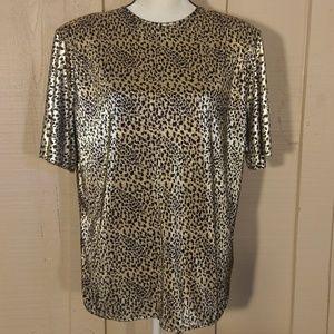 Notations Gold & black Tiger print shirt size 16